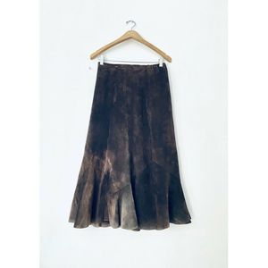 VTG Chicos Brown Suede Long Skirt Sz1 XS